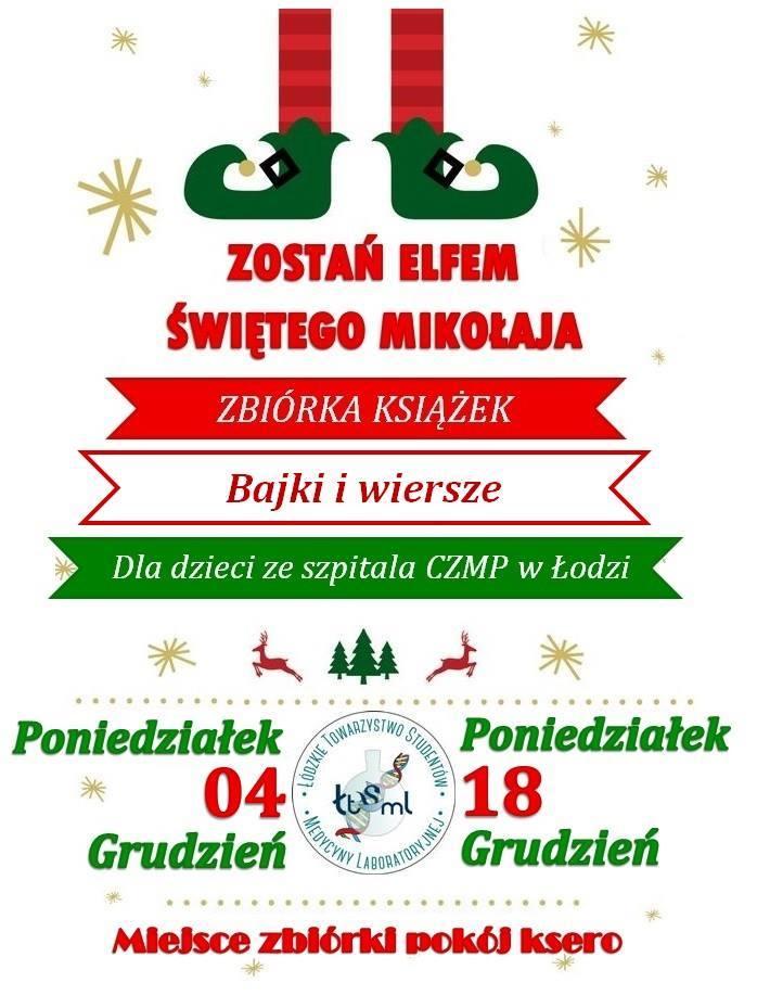 Zostań Elfem świętego Mikołaja świąteczna Zbiórka Książek